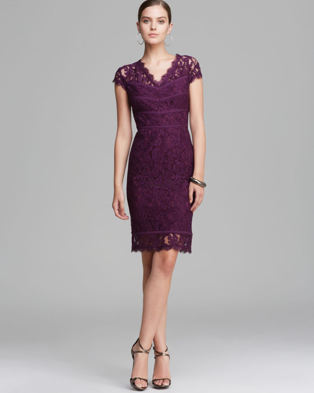 Lyst  Adrianna Papell Dress Cap Sleeve Lace in Purple