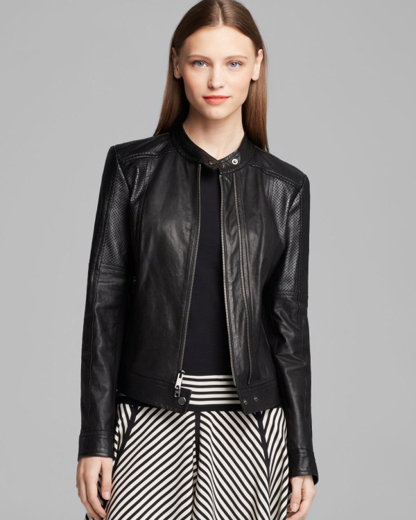 Dkny Band Collar Leather Jacket In Black Lyst