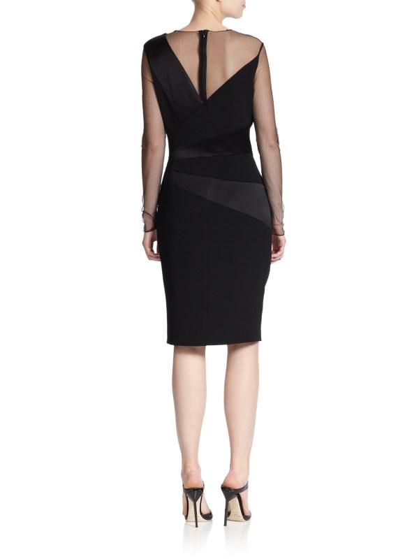 Lyst - Escada Crepe Paneled Dress In Black