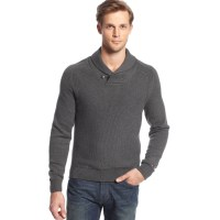 Tommy hilfiger Shawl Collar Sweater in Gray for Men