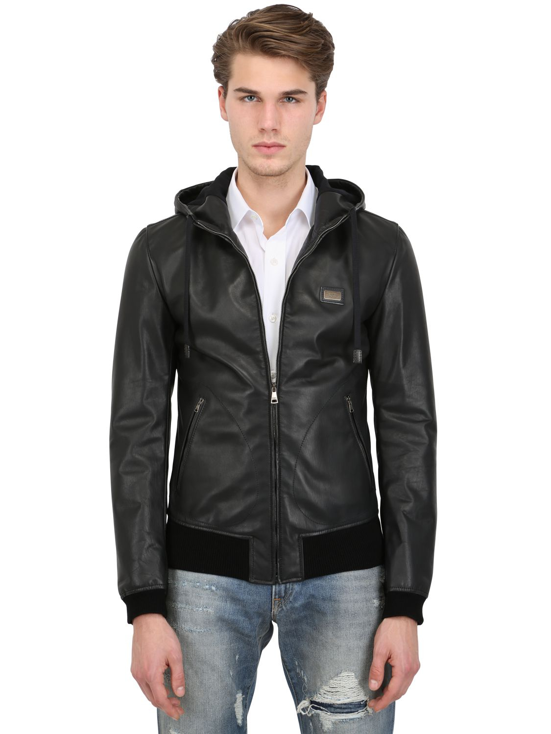 Lyst  Dolce  Gabbana Nappa Leather Hooded Jacket in