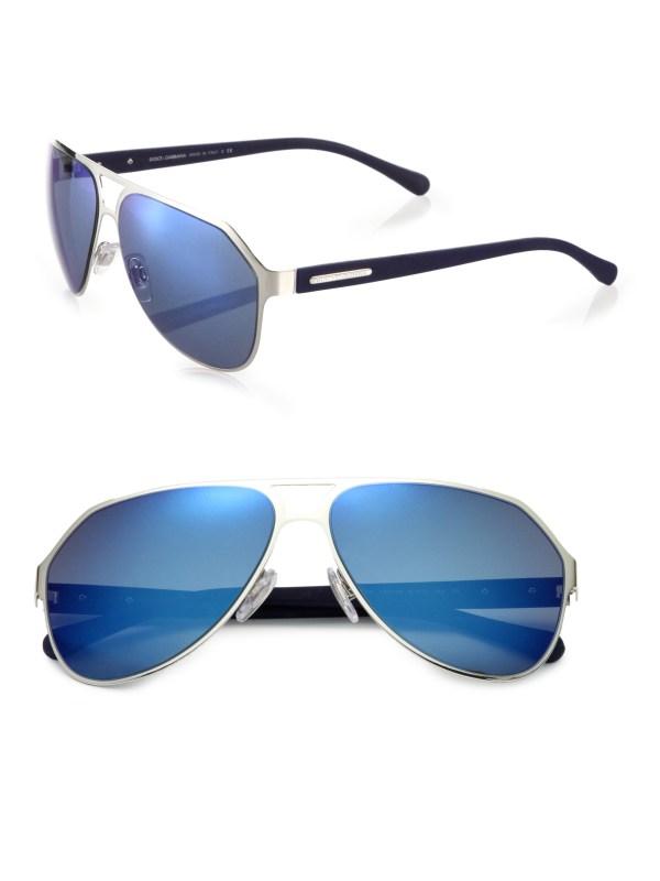 Lyst - Dolce & Gabbana Keyhole Aviator Sunglasses In Blue