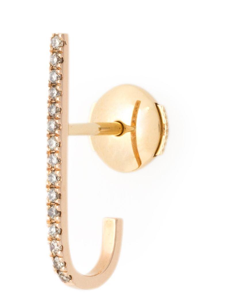Elise dray Mini Barre Diamond Earring in Metallic