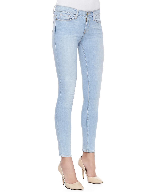 Frame Le Skinny Lightwash Jeans in Blue  Lyst