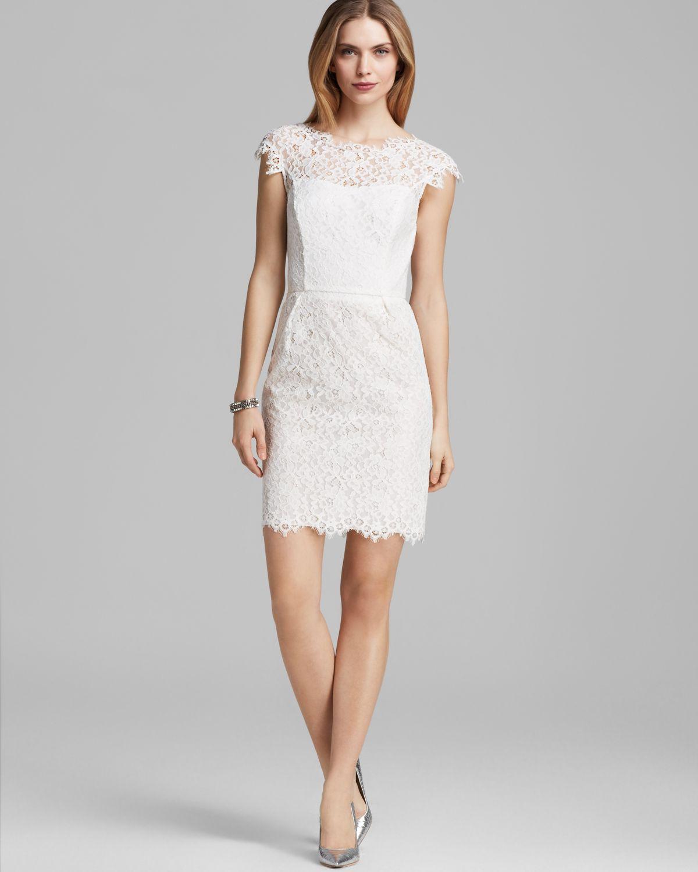 Lyst  Shoshanna Dress Scarlett Cap Sleeve Lace in White