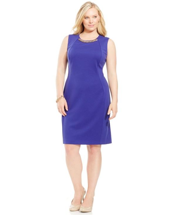 Lyst - Calvin Klein Size Chain-link Sheath Dress In Blue
