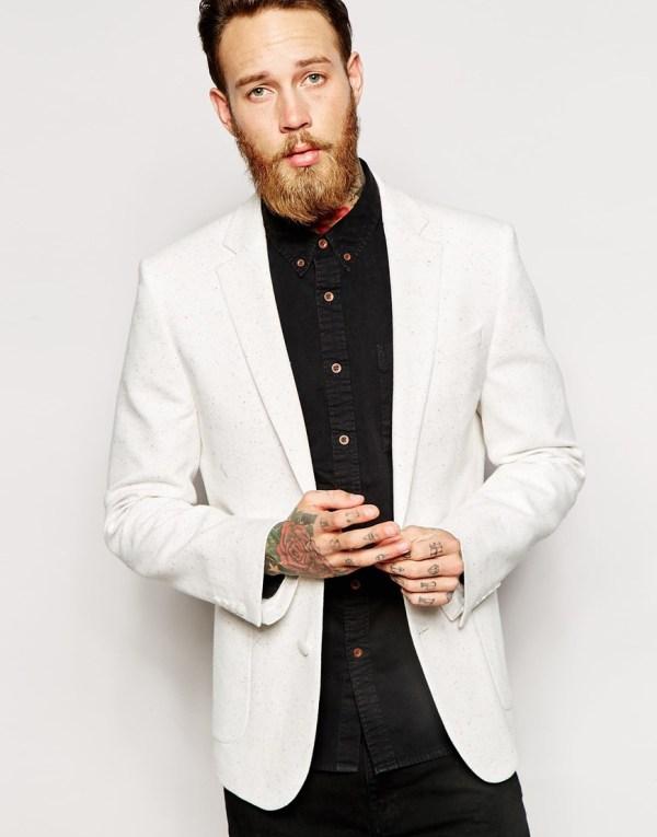 Lyst - Asos Skinny Fit Blazer In Jersey Natural Men