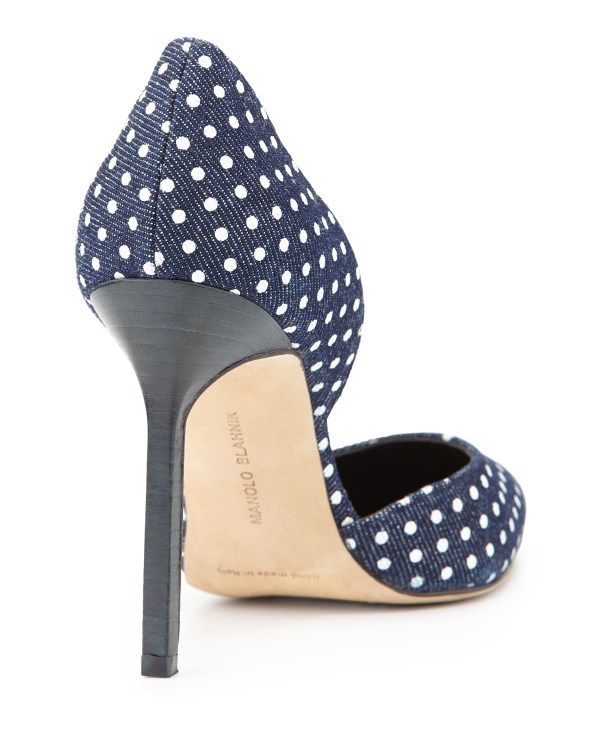 Lyst - Manolo Blahnik Polka-dot Denim 'orsay Pumps In Blue