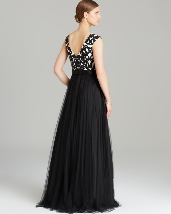 Aidan Mattox Gown - Cap Sleeve Printed Tulle Skirt In