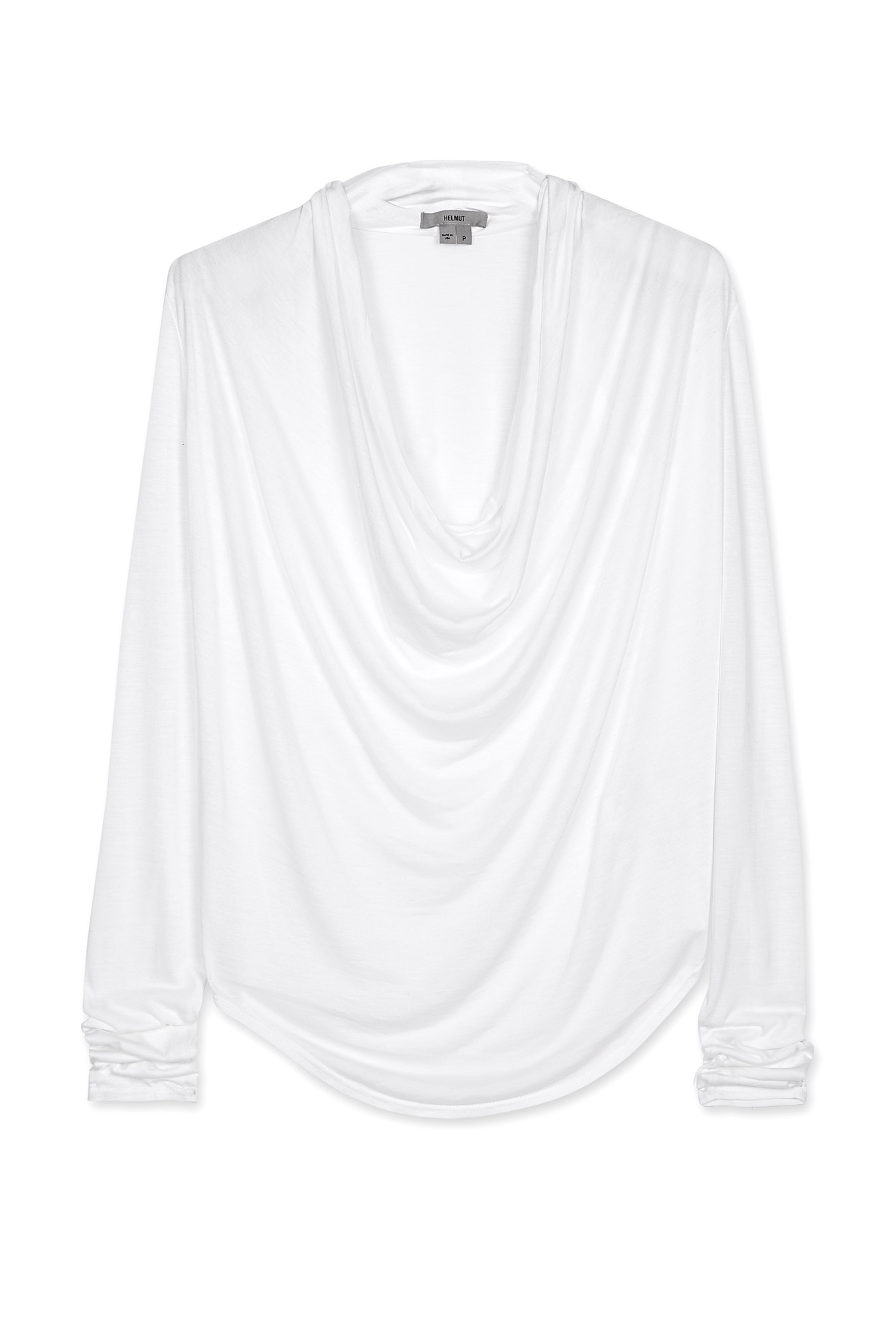 Helmut White Kinetic Jersey Long Sleeve Cowl Neck Top in