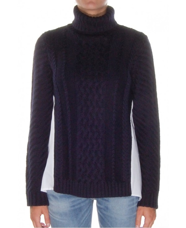 Sea Cable And Cotton Turtleneck Sweater In Black Lyst