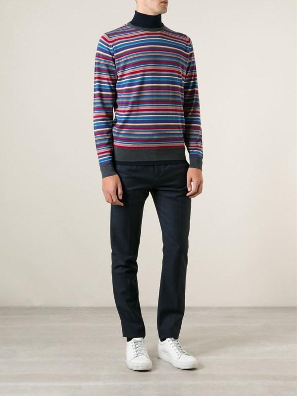 John Smedley Striped Turtleneck Sweater Men Lyst