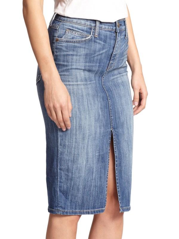 High Waist Denim Pencil Skirt