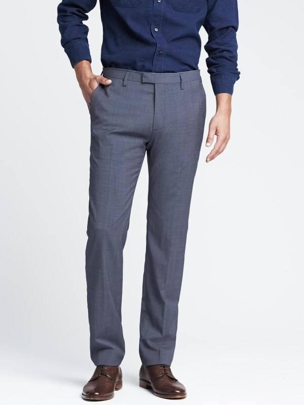 Banana Republic Modern Slim Blue Wool Dress Pant In