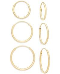 Macy's Polished Hoop Earring Set In 10k Gold in Metallic ...