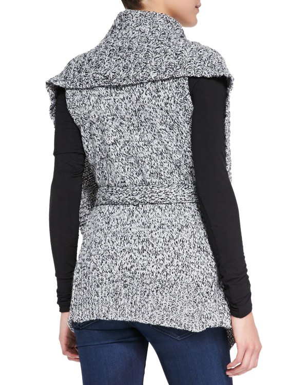 Blank Wraparound Cable-knit Sweater Vest In Gray Lyst