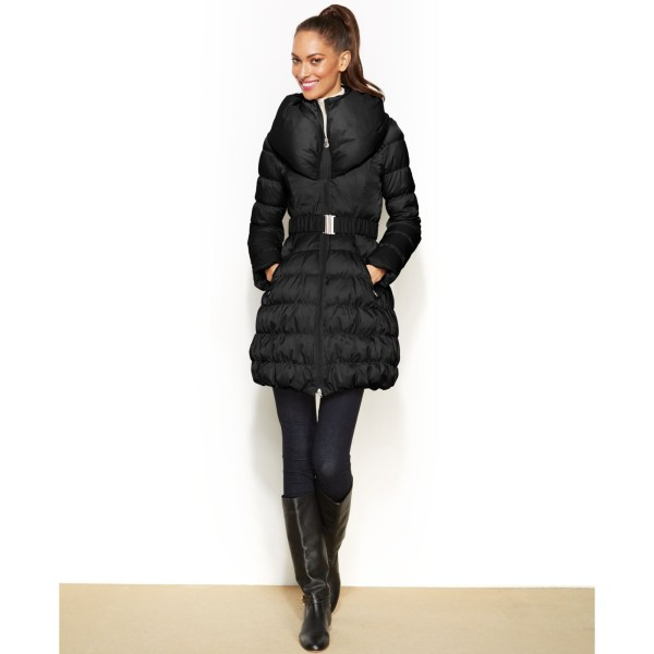 Laundry Shelli Segal Belted Puffer Coat In Black