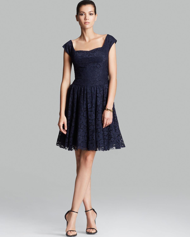 Lyst  Vera Wang Dress Cap Sleeve Lace in Blue