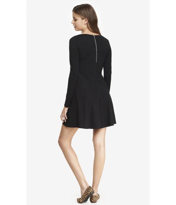 Express Long Sleeve Zip Trapeze Dress - Black In Lyst