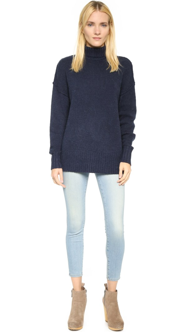 Lyst - Nlst Oversized Turtleneck Sweater Navy In Blue