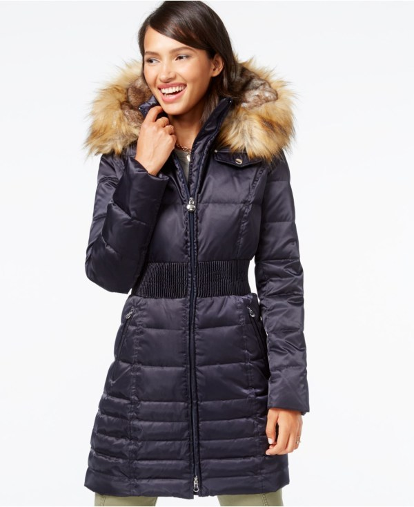 Laundry Shelli Segal Blue Faux-fur-hood Puffer