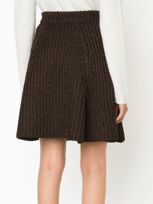 Lyst - Proenza Schouler Cable Knit -line Skirt In Brown