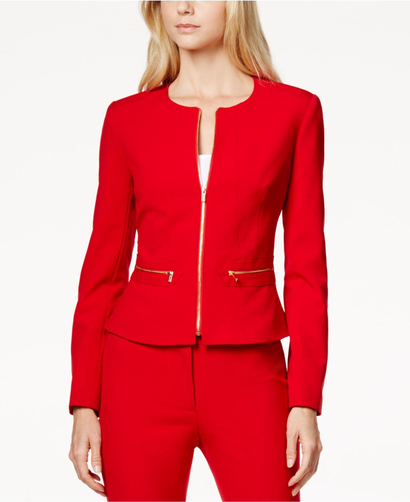 Lyst Calvin Klein Zip Front Peplum Jacket In Red