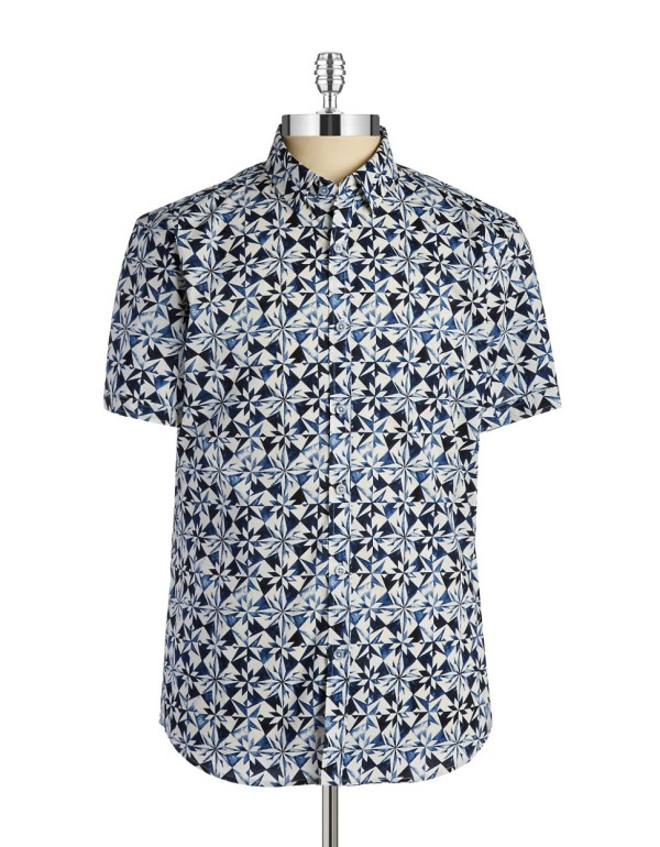 7 Diamonds Short Sleeve Sportshirt In Blue Men - Lyst