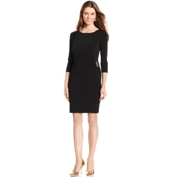 Tahari Three Quarter Sleeve Gathered Buckle Dress In Black