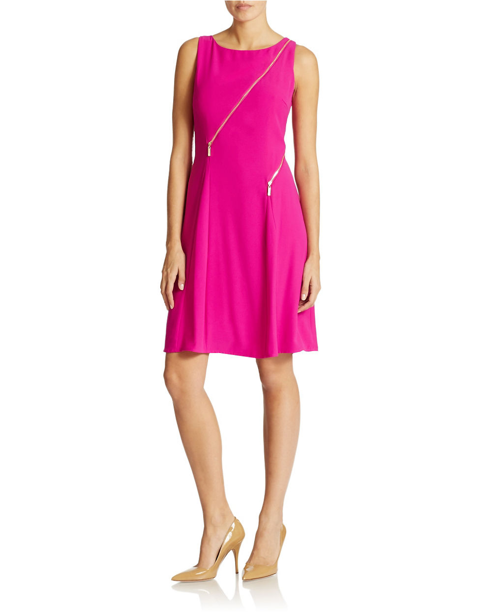 Ivanka Trump Zip Detail A Line Dress In Purple | Lyst