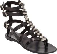 Sartore Studded Flat Gladiator Sandals in Black | Lyst