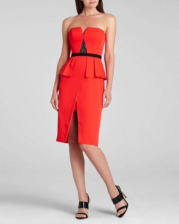Bcbgmaxazria Dress - Karie Strapless Peplum Embellished In
