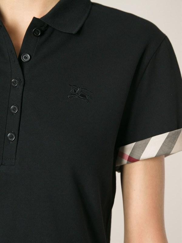 c9c219f5 Burberry Brit Nova Check Trim Polo Shirt In Black Lyst