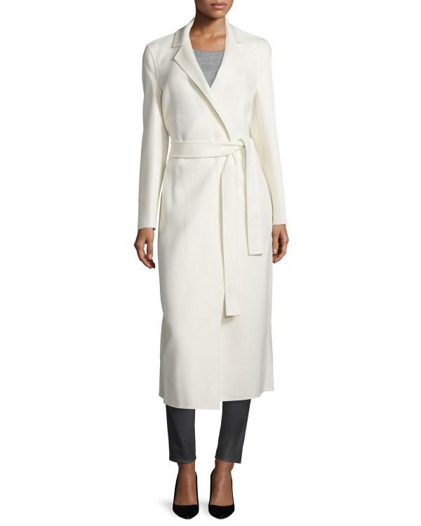 Lyst - Joseph Wool-blend Long Wrap Coat In White