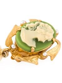 Lyst - Dolce & Gabbana Cameo Clip-on Earrings in Green