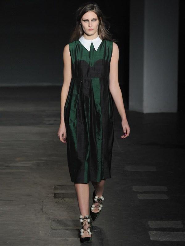 House Of Holland Aurora Raw-silk Dress In Green Lyst