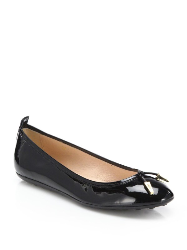 Tod39s Patent Leather Ballet Flats in Black Lyst