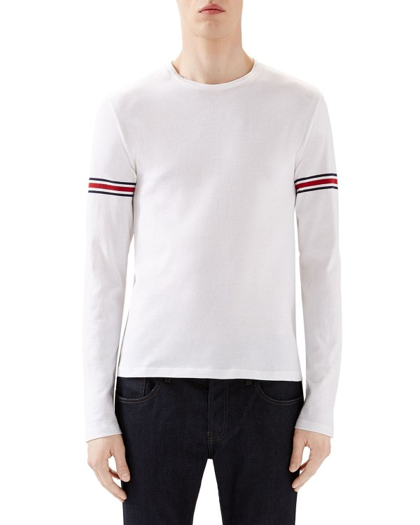 658915cb57d2 Lyst - Gucci Arm-band Detailed Cotton Top In White Men