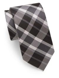 Saks fifth avenue Plaid Silk Tie in Black for Men   Lyst