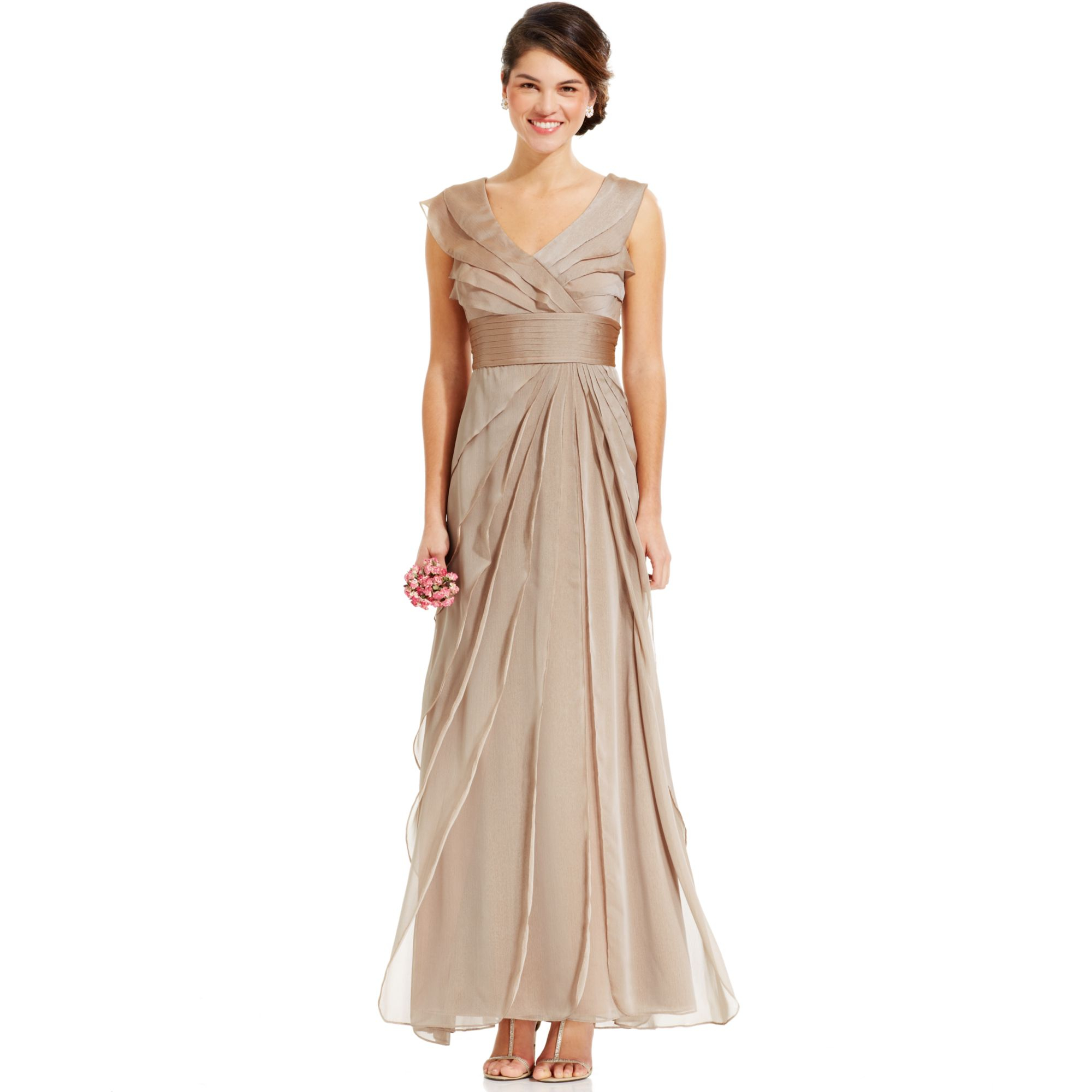 Adrianna papell Tiered Evening Dress in Natural  Lyst