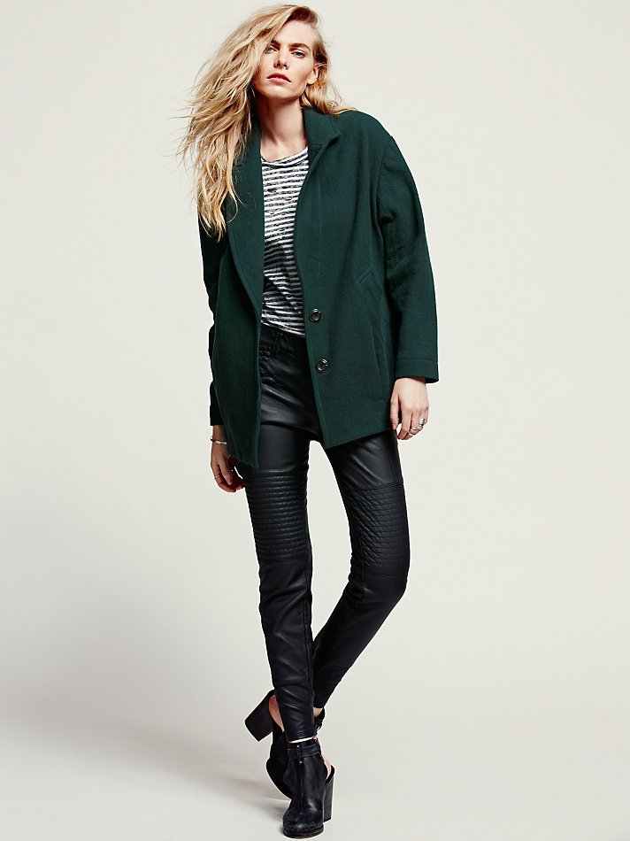 Free People Womens Slouchy Boyfriend Jacket In Green