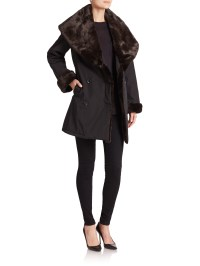 Jane post Faux Fur Shawl-collar Coat in Black (black-brown ...
