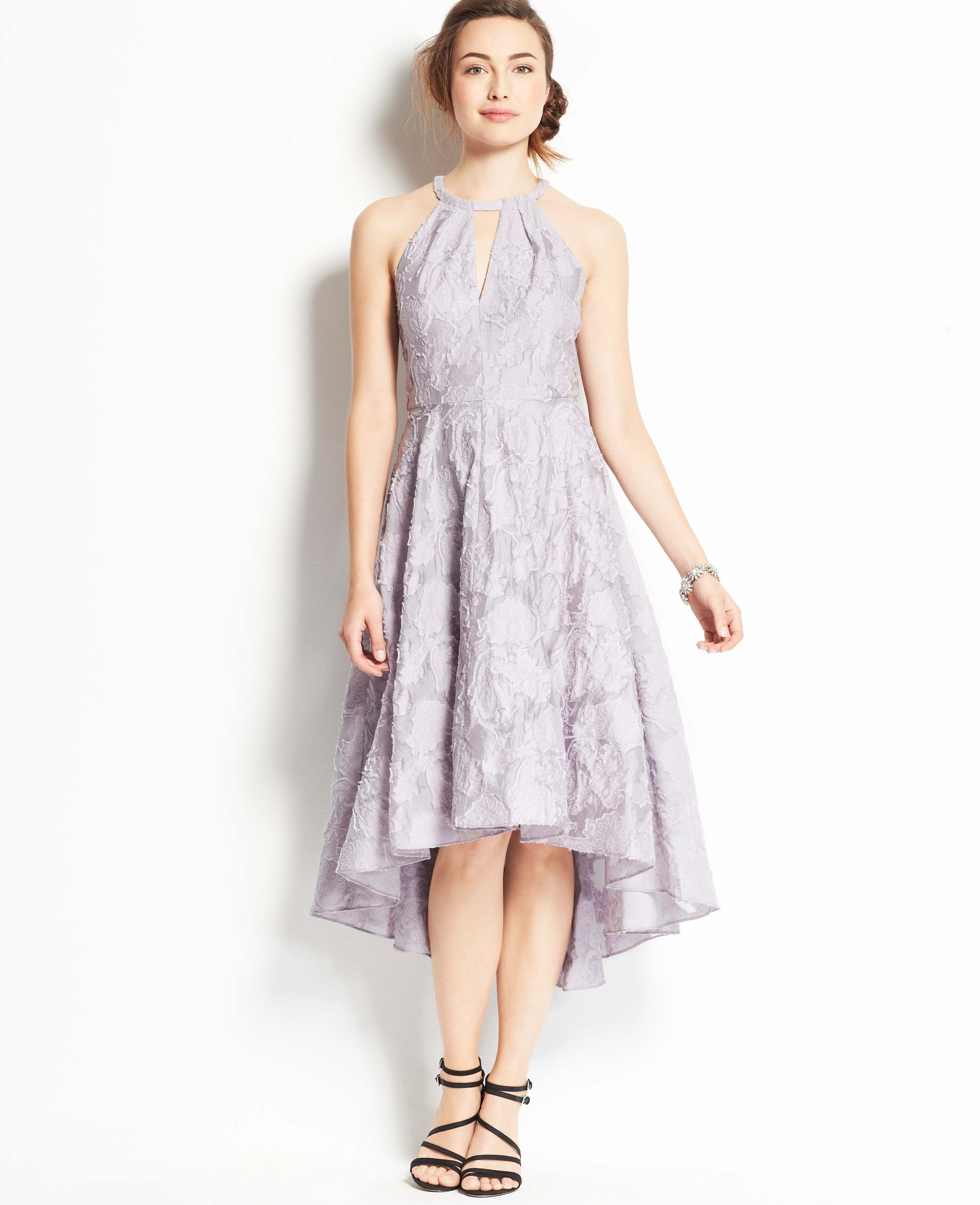 Ann Taylor Floral Jacquard High Low Hem Halter Dress in Purple LANGUID LAVENDER  Lyst