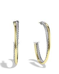 David yurman Crossover Hoop Earrings With 18k Gold in ...
