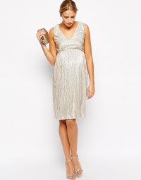 Lyst - Asos Pleated Midi Dress With V Neck In Metallic in ...