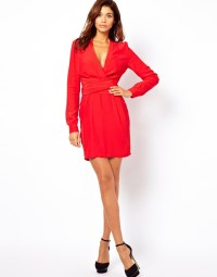 Asos Wrap Dress With Tulip Skirt And Long Sleeves in Red ...