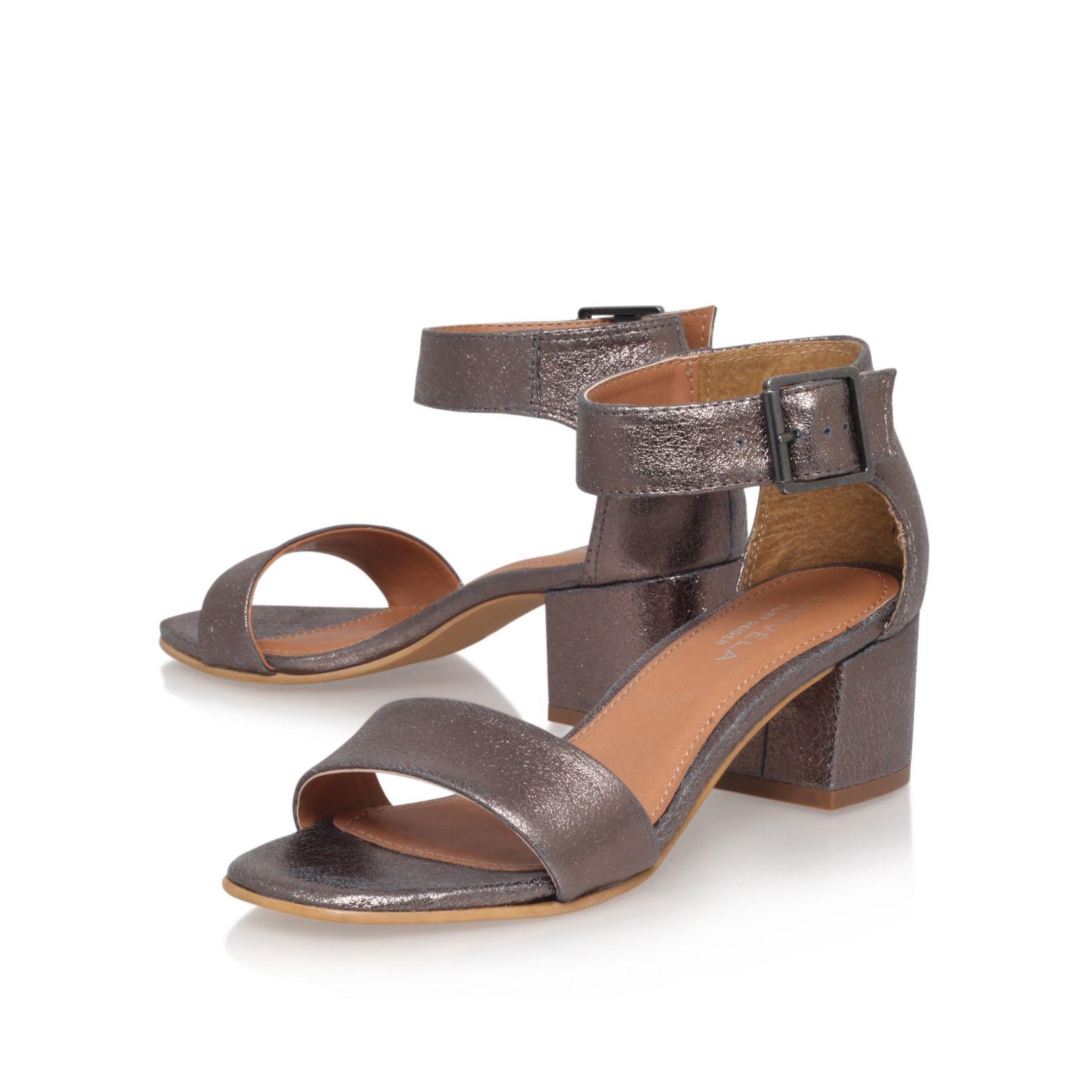 Silver Gray Medium Heel Sandals