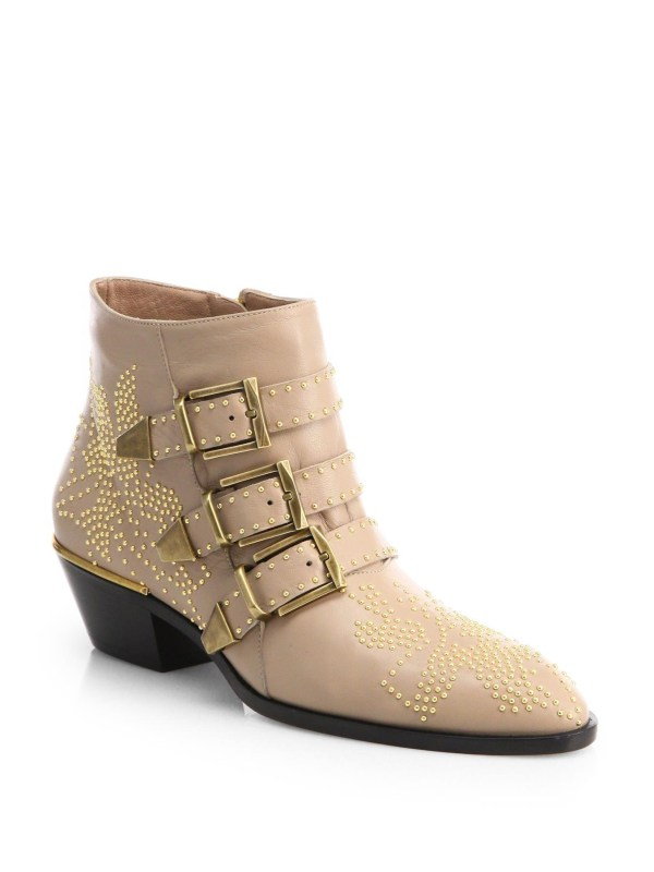 Chlo Suzanna Studded Leather Ankle Boots In Natural Lyst