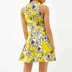 River Island Yellow Floral Print Skater Dress In Lyst