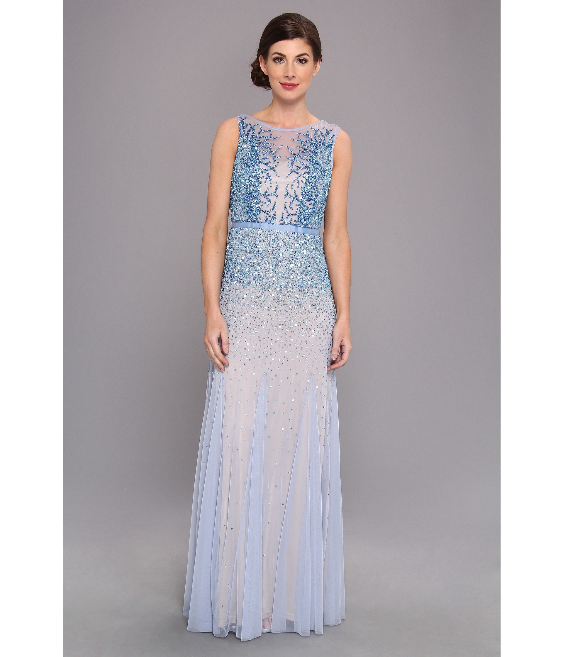Lyst  Adrianna Papell Beaded Illusion Gown Prom in Blue